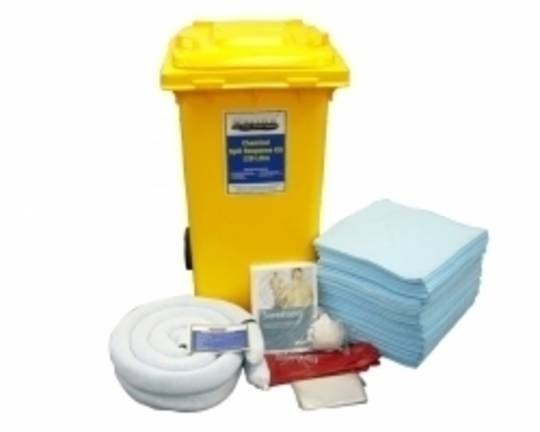 SpillTech 120L Chemical Spill Kit Wheelie Bins